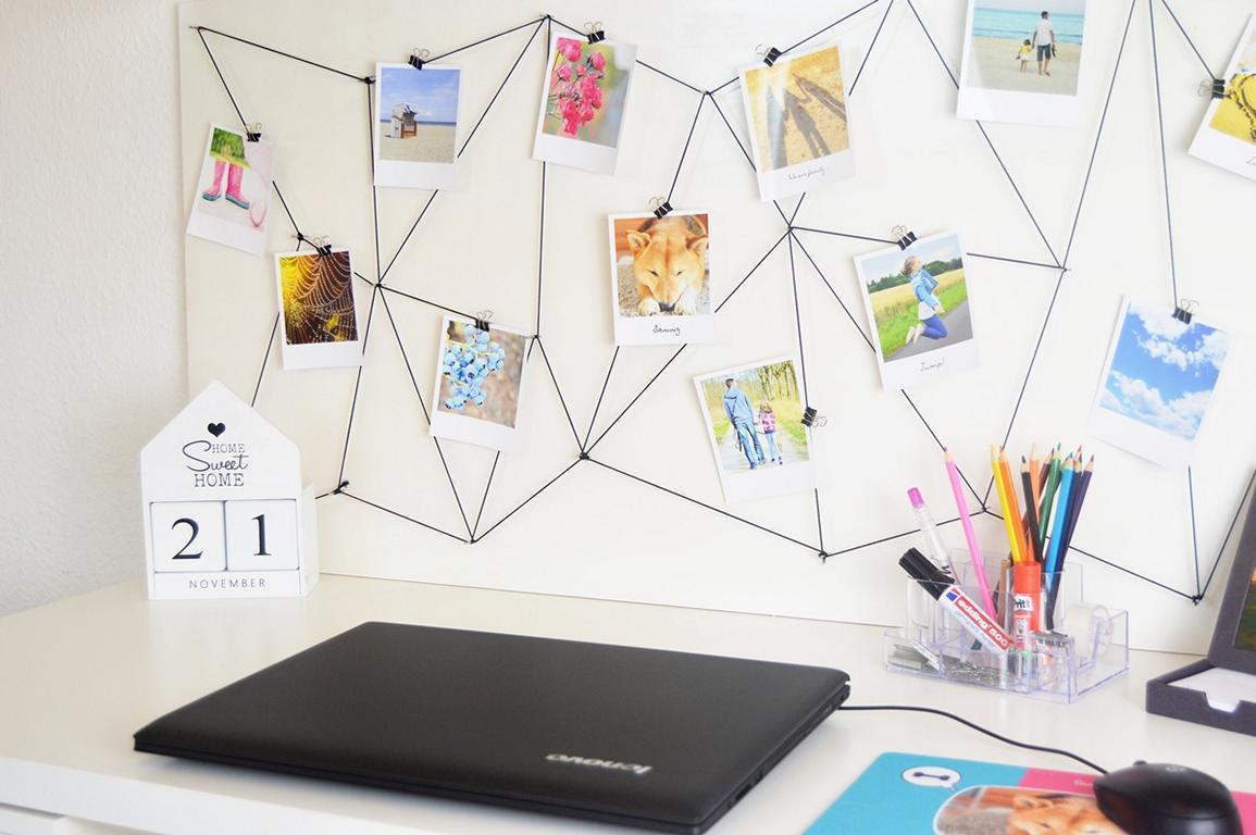 diy fotowand fotos im polaroidstyle in szene gesetzt. Black Bedroom Furniture Sets. Home Design Ideas