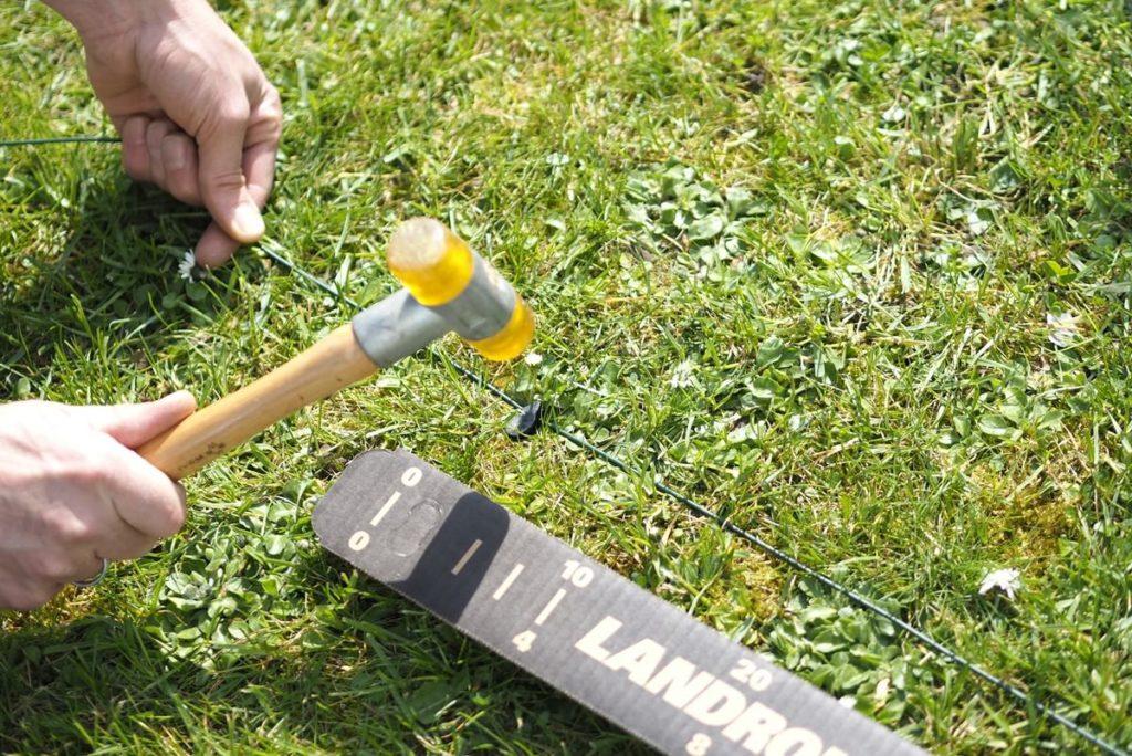 gepflegter Rasen Mähroboter Begrenzungsdraht