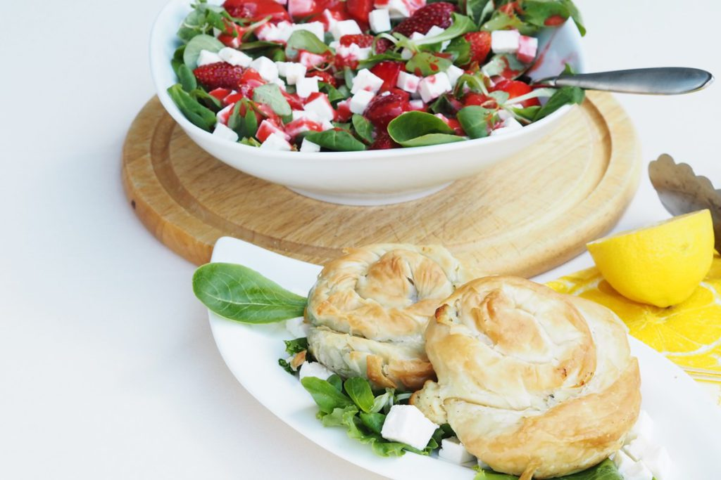 MEGGLE Ofen Schnecke und Sommersalat