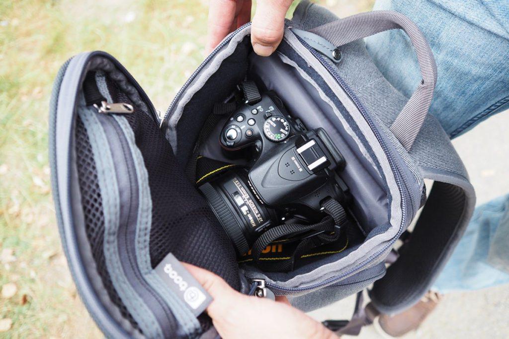 booq slimpack fotorucksack kamerazugriff oben