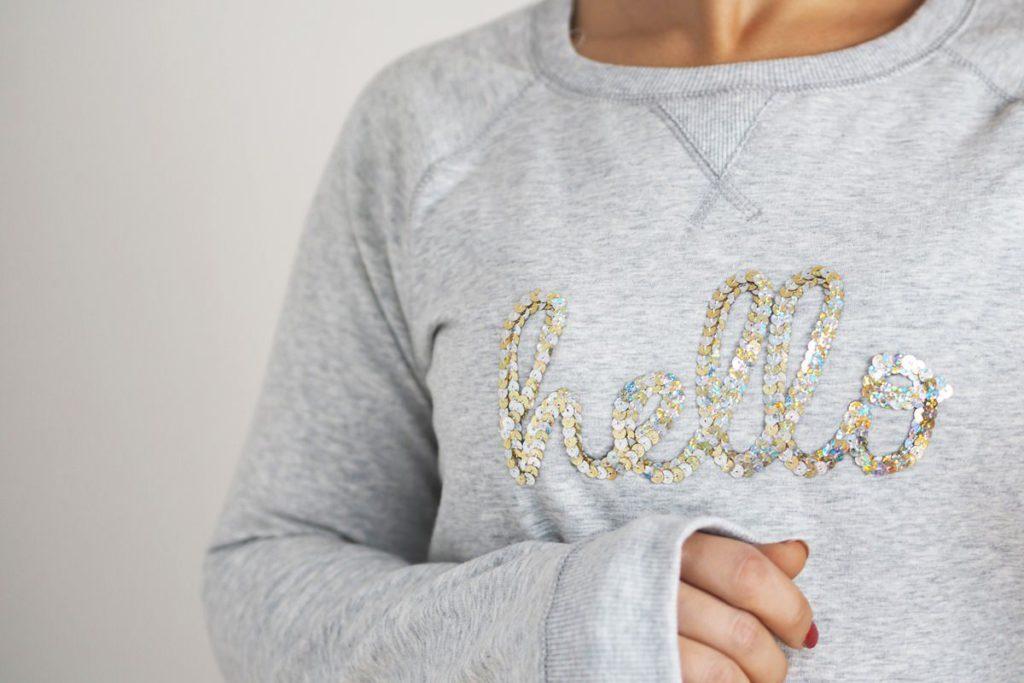 Pullover selbst gestalten Sweatshirt Pailetten aus alt mach neu