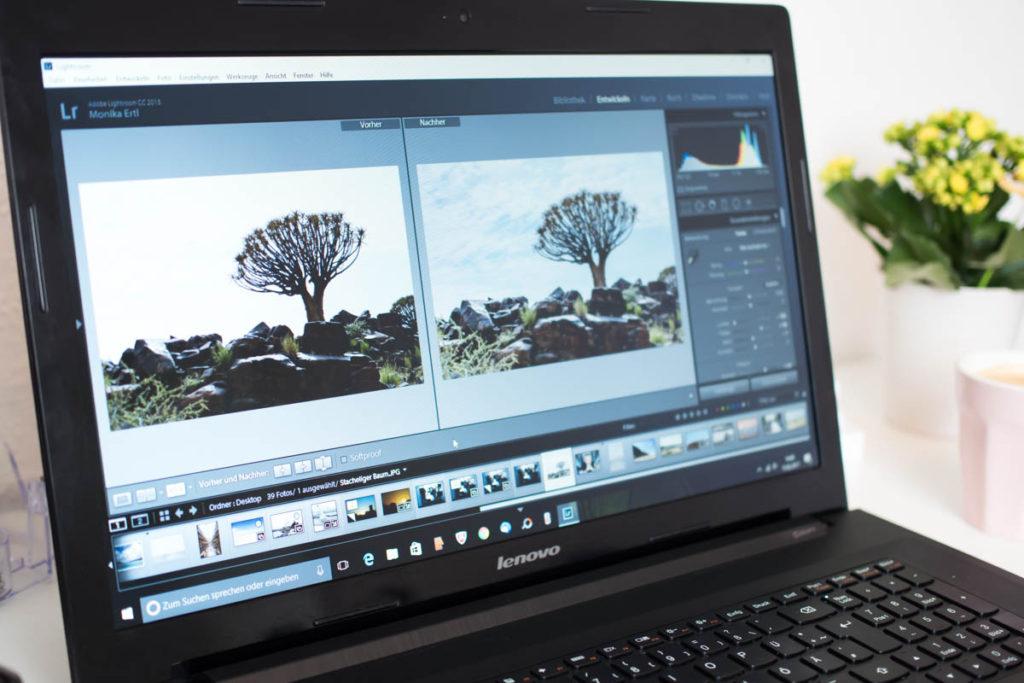 Bildbearbeitung mit Lightroom Schreibtisch Laptop