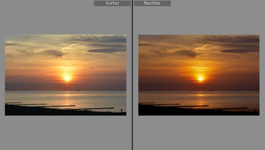 Sonnenuntergang vorher nachher lightroom bildbearbeitung