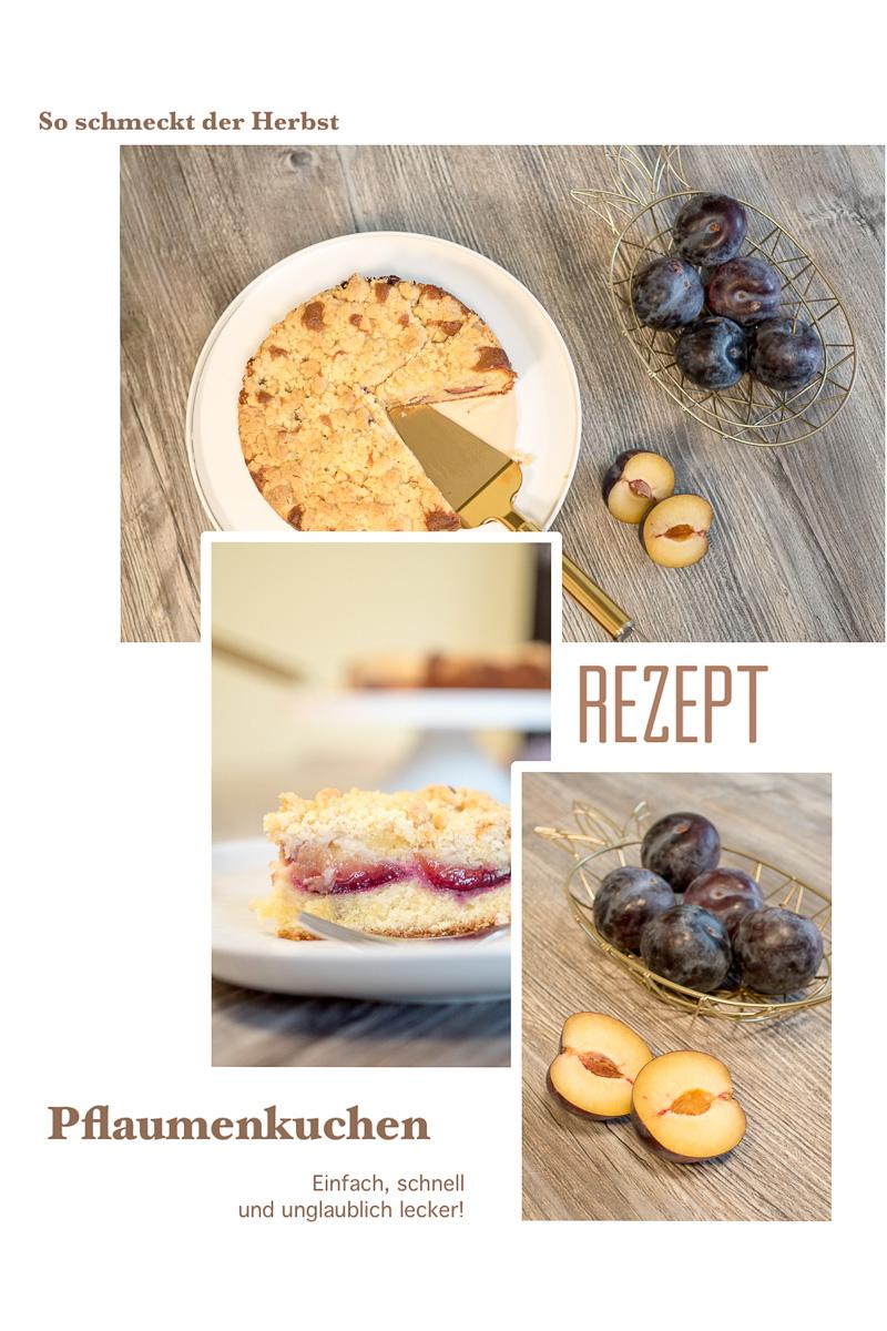 Rezept schneller Pflaumenkuchen mit streuseln all in teig vorstadtleben lifestyle blog