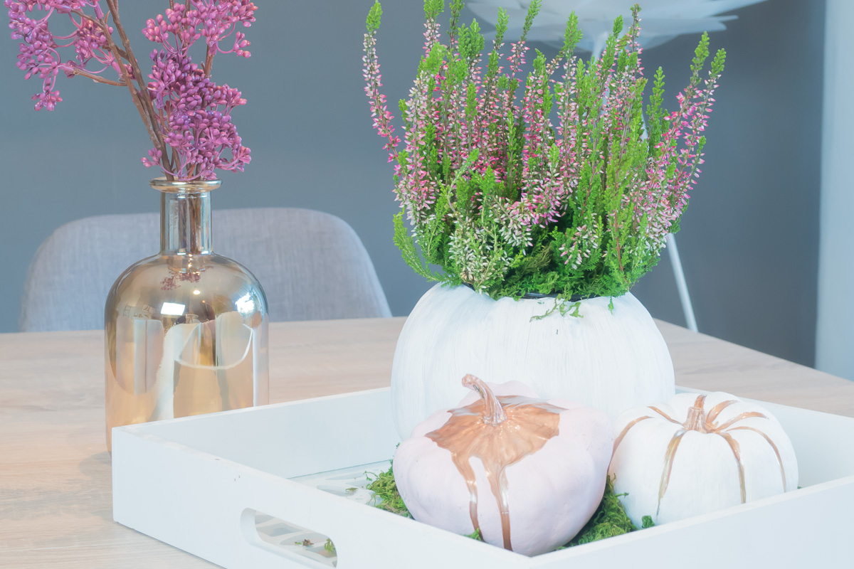 herbstdeko in weiss rosa gold pastell diy