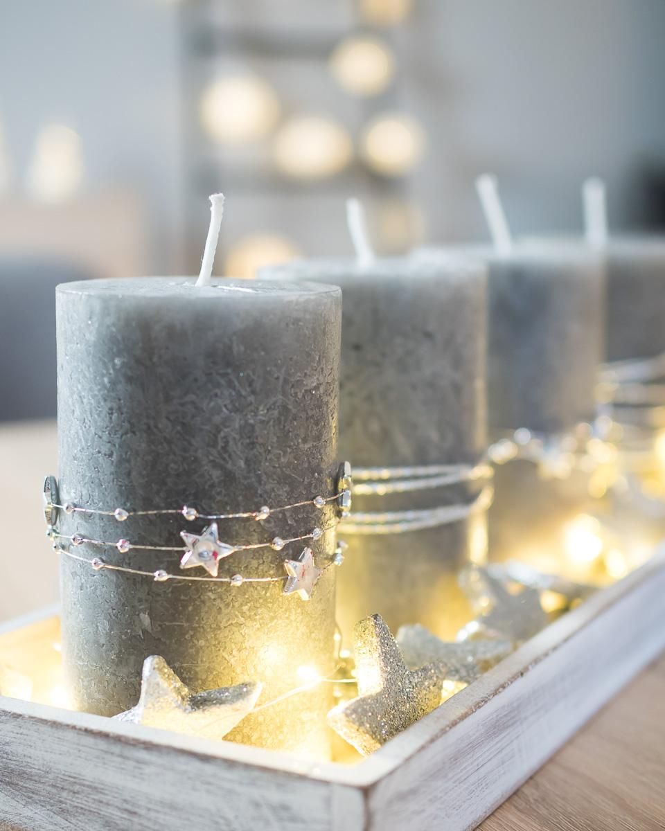 adventskranz adventsgesteck silber grau schlicht diy