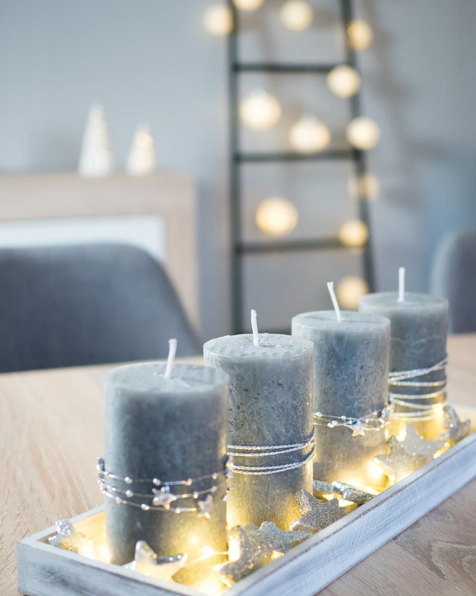 moderner adventskranz selber machen DIY grau silber