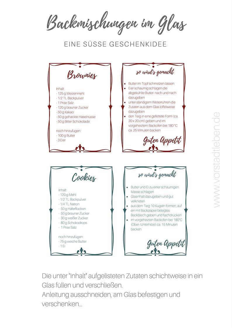 printable pdf backmischung im glas cookies brownies