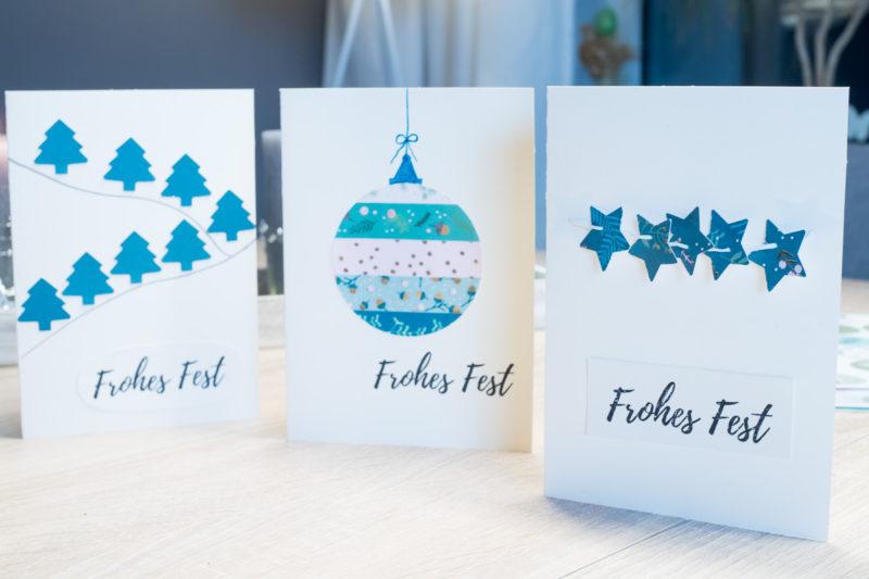 Weihnachtskarten selber machen 3 einfache ideen - Weihnachtskarten selbst gestalten vorlagen ...