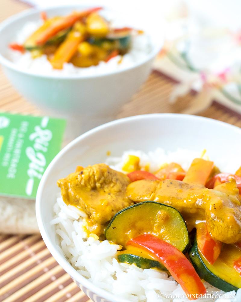 Basmati Reis Rii Jii Haehnachen Gemuese Curry Rezept