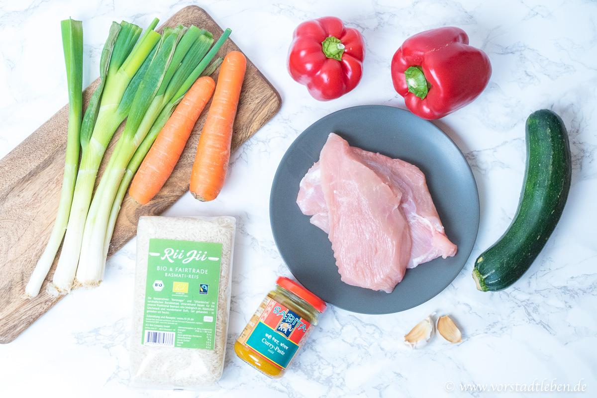 Haehnchen Gemuese Curry Zutaten