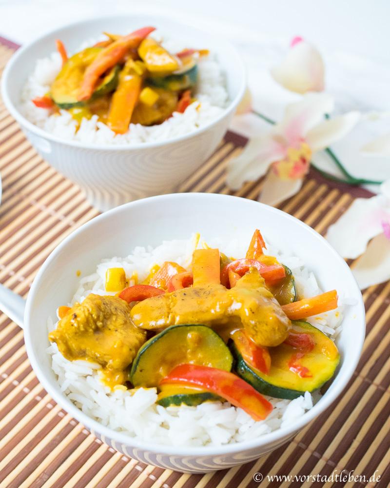 Haehnchen Gemuese Curry mit Basmatireis Rezept