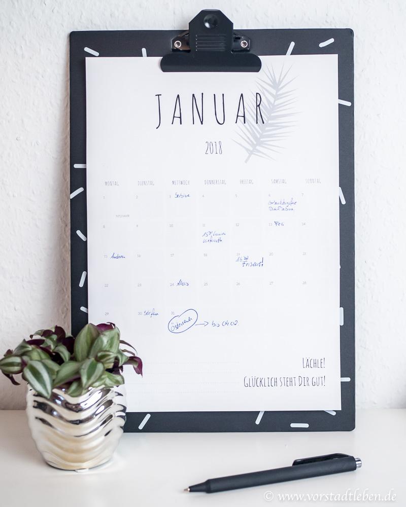 Kalender 2018 Freebie Printable Downlad Klemmbrett