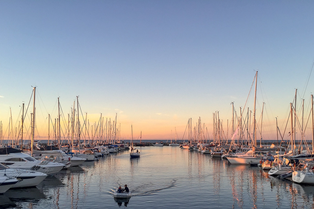 Ostsee Hafen Sonnenuntergang