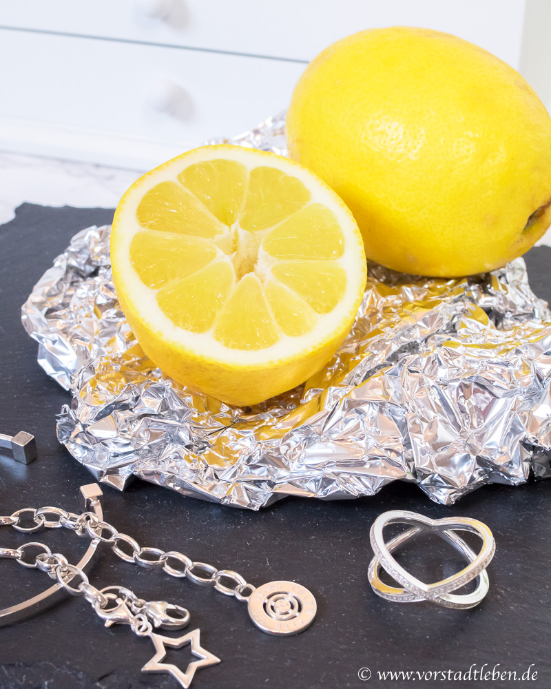 Silberschmuck renigen zitrone Alufolie