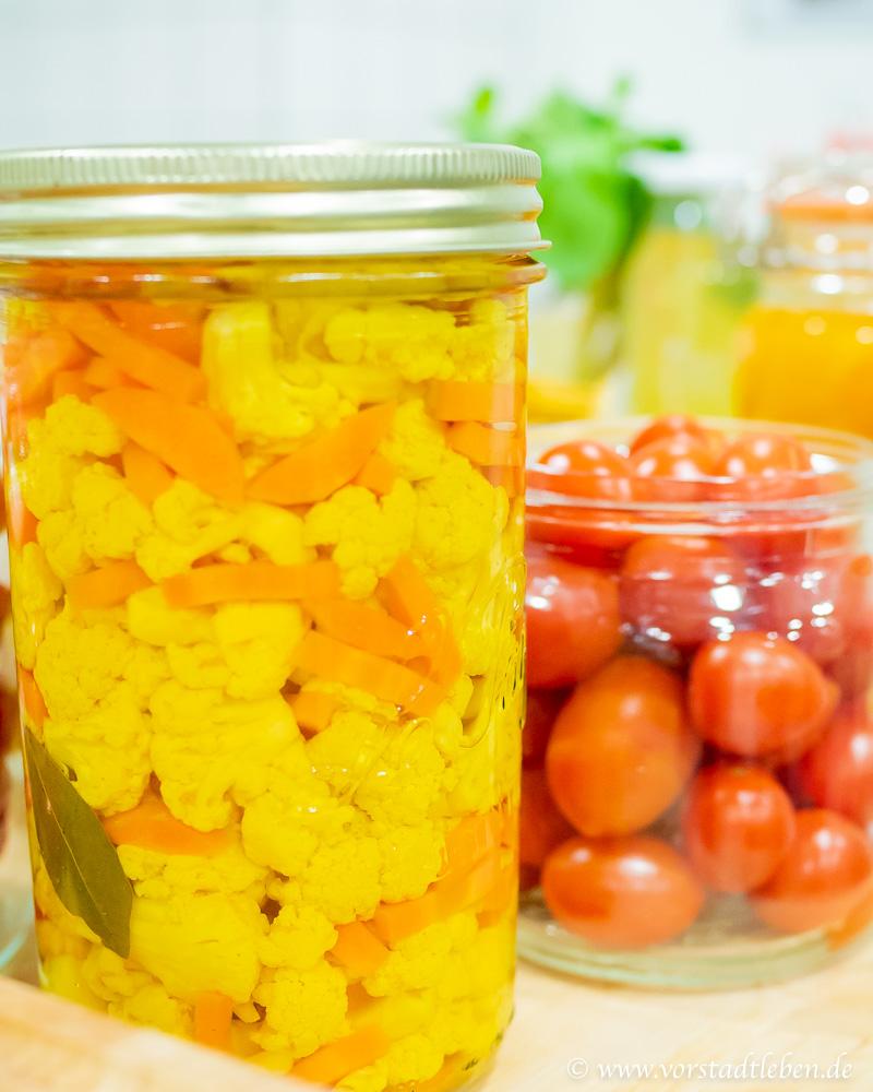 Mixed Pickles liebe im Glas Blumenkohl
