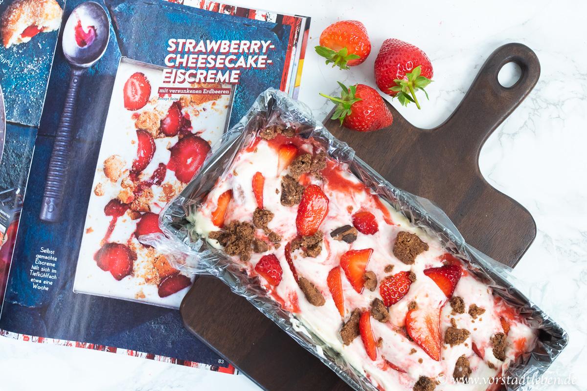 Eis ohne Eismaschine Erdbeeren Cookies Eiscreme