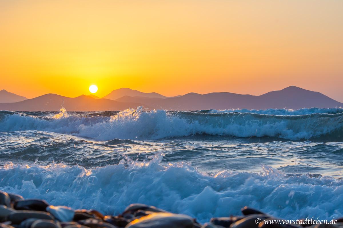 Urlaub auf Kos Sonnenuntergang Wellen