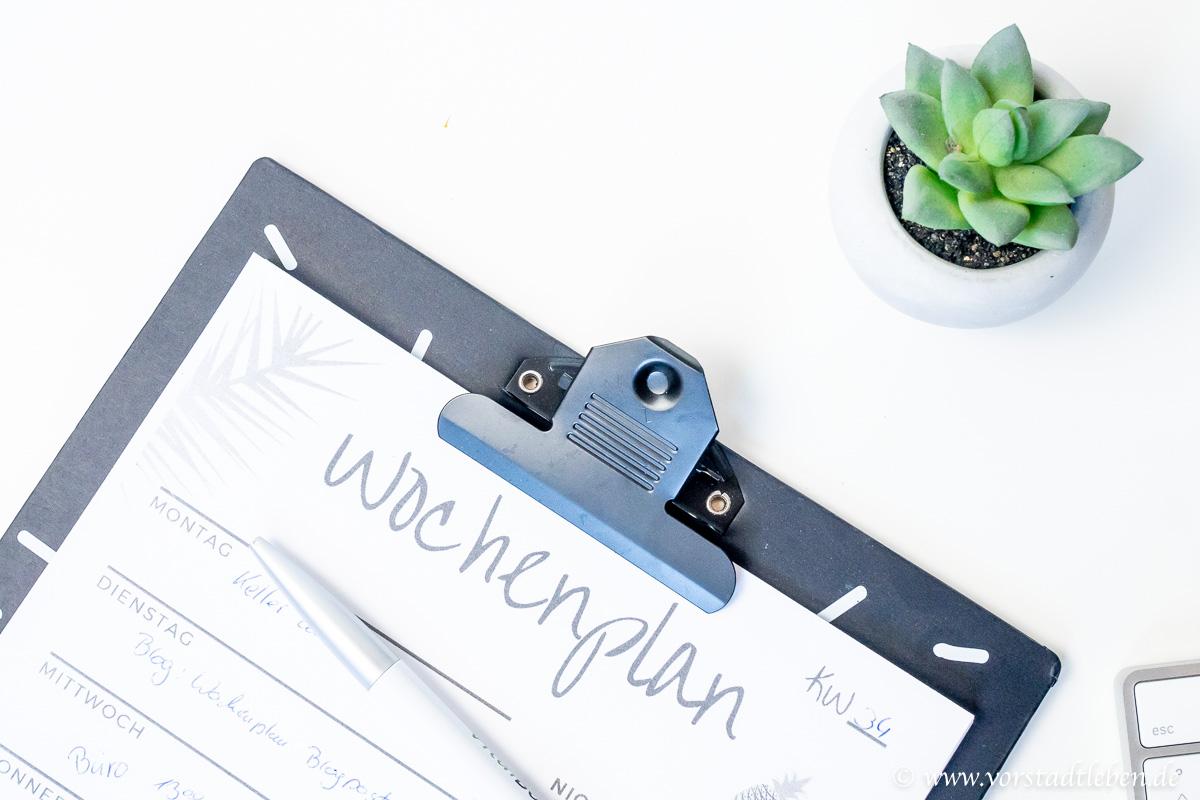 Wochenplan zum Ausdrucken Download Zeitmanagement Vorstadtleben Lifestyle Blog