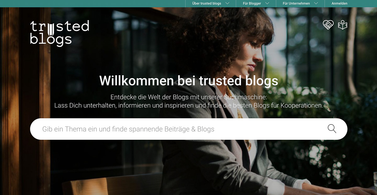 Blogsuchmaschine trusted blogs screenshot