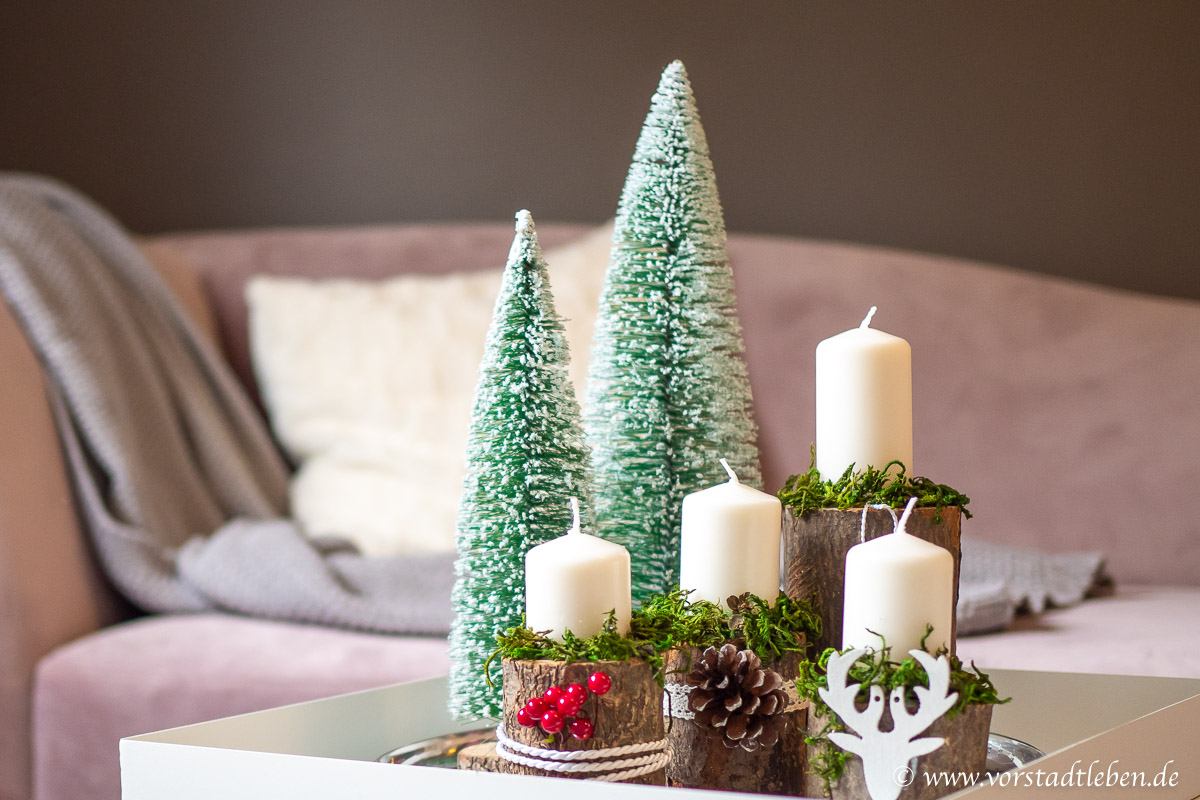 Adventsgesteck DIY Holz