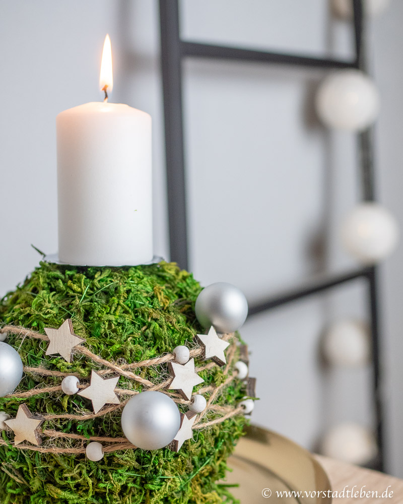 mooskugel selber machen basteln deko advent