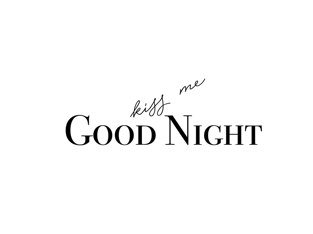Kiss me good night Typographie Poster Freebie Download