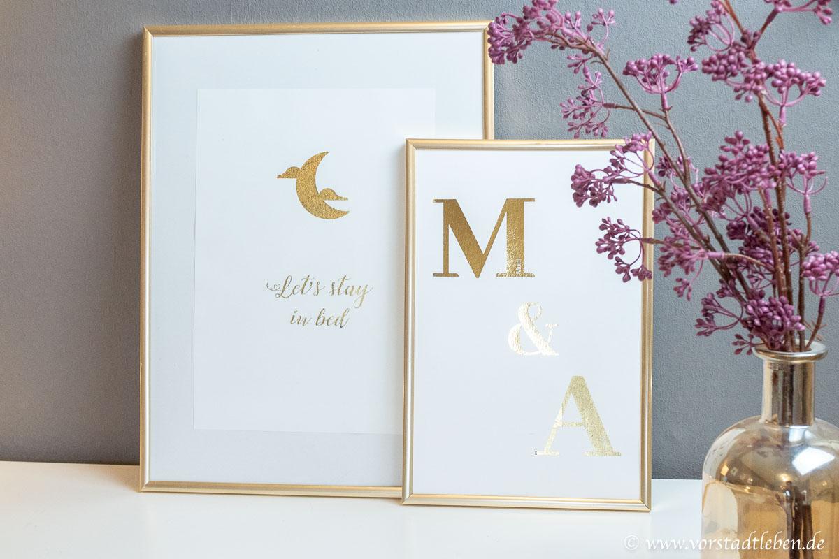 Wandgestaltung Gold Schlafzimmer typographie poster DIY