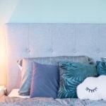 Schlafzimmer Bett Polsterbett grau