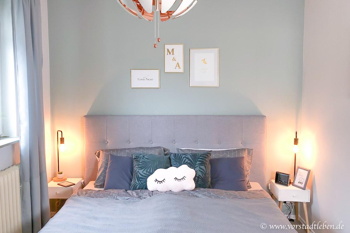 Schlafzimmer bett polsterbett kopfteil grau Moebel24