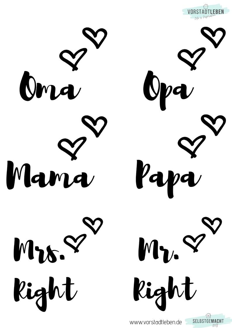 Lettering Vorlagen Tassen Familie