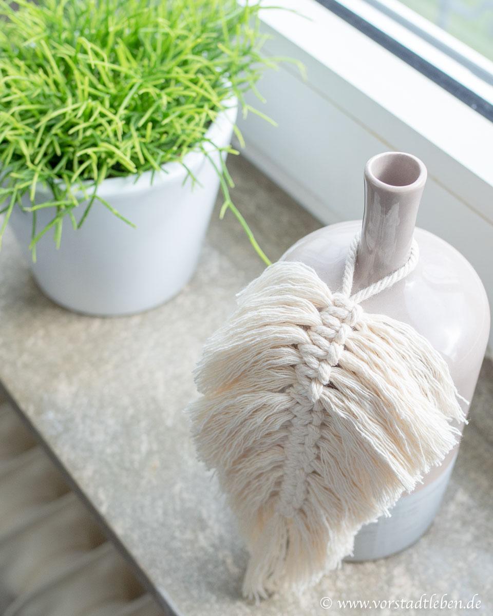 Fensterdeko makramee feder Vase