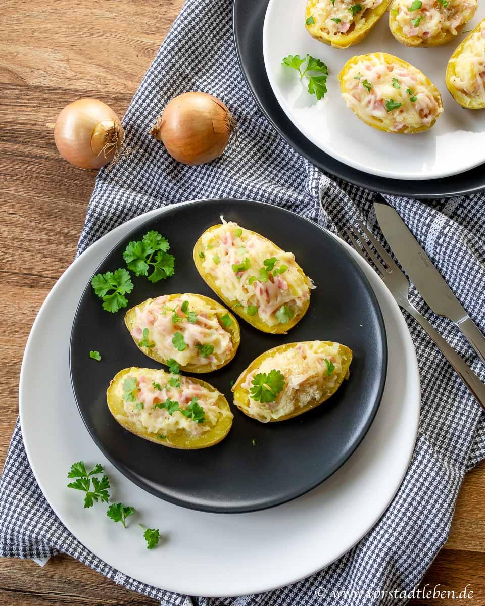 kuechenschmecktakel gefuellte Kartoffeln ueberbacken in der Mikr